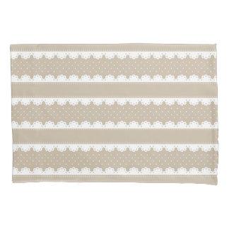 ぼろぼろのシックなベージュレースの縞模様 枕カバー