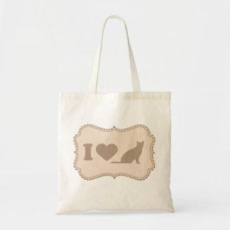 ぼろぼろのシックなラベルI愛猫のキャンバスのトートバック トートバッグ