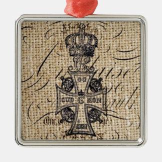 ぼろぼろのシックなヴィンテージの王冠のバーラップの宗教十字 メタルオーナメント