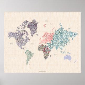 ぼろぼろのシックな世界旅行地図 ポスター