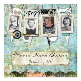ぼろぼろのシックな写真の第80誕生日のパーティの招待状 カード