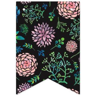 ぼろぼろのシックな春の水彩画の花 バンティングフラッグ
