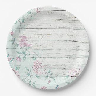 ぼろぼろのシックな木製のヴィンテージの花の紙皿 ペーパープレート