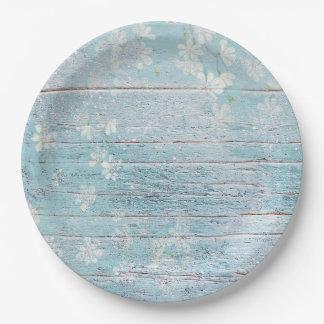 ぼろぼろのシックな木製の青い白い花の紙皿 ペーパープレート