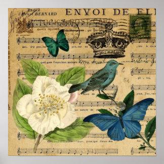 ぼろぼろのシックな植物のフランスのな鳥のツバキ ポスター