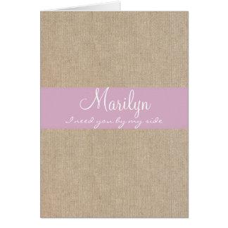 ぼろぼろのシックな淡いピンクのバーラップの新婦付添人の要求 カード