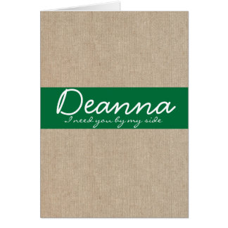 ぼろぼろのシックな深緑色のバーラップの新婦付添人の要求 カード