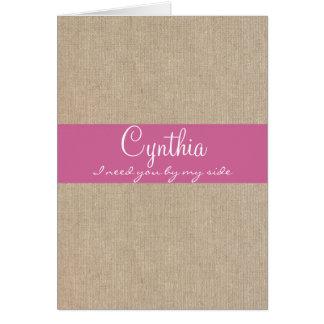 ぼろぼろのシックな濃いピンクのバーラップの新婦付添人の要求 カード
