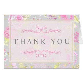 ぼろぼろのシックな灰色及びピンクの花のサンキューカード カード