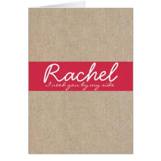 ぼろぼろのシックな穿孔器の赤いバーラップの新婦付添人の要求 カード