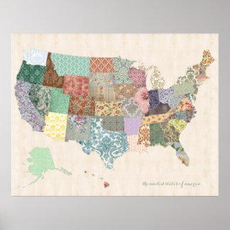 ぼろぼろのシックな米国は-養樹園の芸術の地図を描きます ポスター