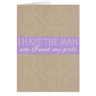 ぼろぼろのシックな紫色のバーラップの新婦付添人の要求カード カード