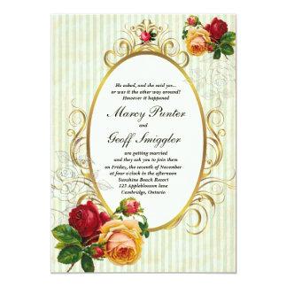 ぼろぼろのシックな結婚式招待状のヴィンテージのバラ 12.7 X 17.8 インビテーションカード