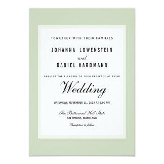 ぼろぼろのシックな緑のモダンな結婚式 12.7 X 17.8 インビテーションカード