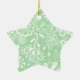 ぼろぼろのシックな緑の星のオーナメントの装飾 セラミックオーナメント