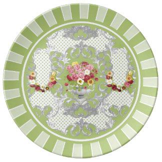 ぼろぼろのシックな緑の花の壷 磁器プレート