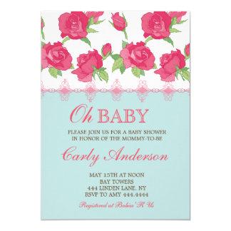 ぼろぼろのシックな花のベビーシャワー招待状 カード