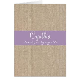 ぼろぼろのシックな薄紫のバーラップの新婦付添人の要求 カード