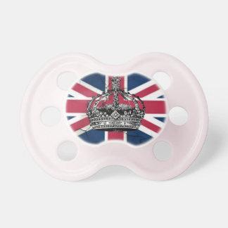 ぼろぼろのシックな記念祭の王冠のイギリスの英国国旗の旗 おしゃぶり