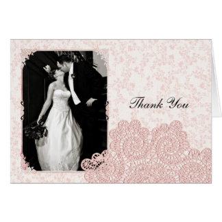 ぼろぼろのピンクのビクトリアンな結婚式の写真のサンキューカード カード