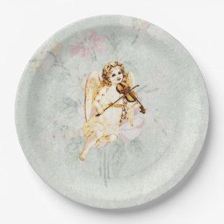 ぼろぼろのヴィンテージの質のバイオリンを演奏する天使 ペーパープレート