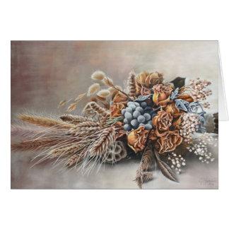 ぼろぼろの上品によって乾燥される花の花束の絵画カード カード