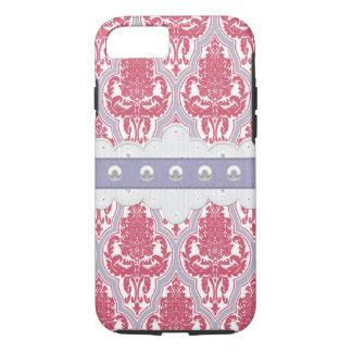 ぼろぼろの上品のばら色及び紫色のダマスク織 iPhone 7ケース
