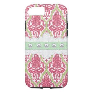 ぼろぼろの上品のばら色及び緑のダマスク織 iPhone 7ケース