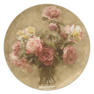 ぼろぼろの上品のバラのプレート プレート
