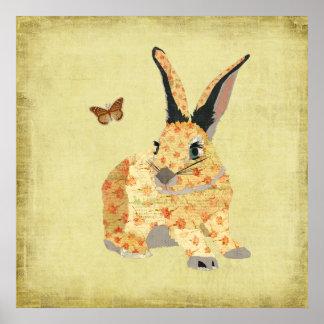 ぼろぼろの花のバニーの芸術ポスター ポスター