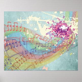 ぼろぼろの質のレトロの虹および音楽ノート ポスター