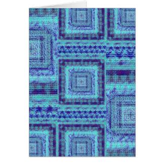 ぼろぼろの青い生地は正方形パターンを装飾的好みます カード