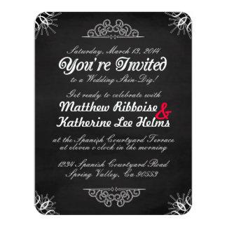ぼろぼろシックな黒板の招待状 カード
