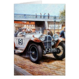 ぼろ自動車のレースカーの絵画 カード