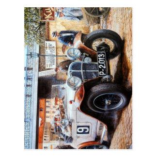 ぼろ自動車のレースカーの絵画 ポストカード