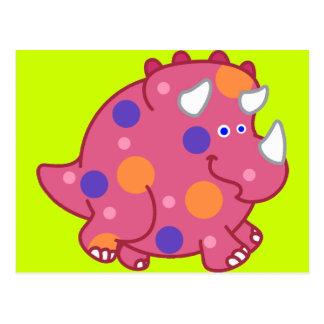 ぽっちゃりしたトリケラトプスの漫画の恐竜 ポストカード