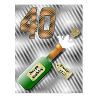 ぽんと鳴るシャンペンのボトルの第40誕生日の郵便はがき ポストカード