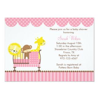 まぐさ桶の(ピンクの)招待状のジャングル動物 カード