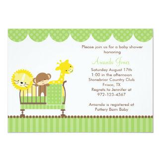 まぐさ桶の(緑の)招待状のジャングル動物 カード