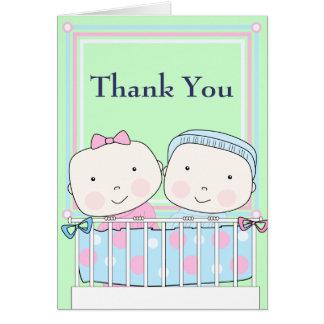 まぐさ桶、女の子および男の子のベビーのサンキューカードの双生児 カード