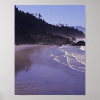 または、Ecola SPの朝の霧が付いているインドのビーチ ポスター