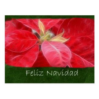 まだらにされた赤いポインセチア2 - Feliz Navidad ポストカード