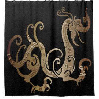 まだらにされた黒シャワー・カーテンの青銅色のドラゴン シャワーカーテン