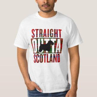 まっすぐなOuttaスコットランドのスコッチテリアの格子縞 Tシャツ