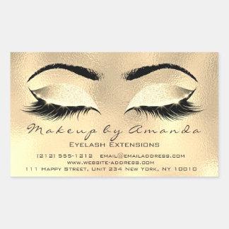 まつげ延長ブラウンのメーキャップアーティストの美容院 長方形シール