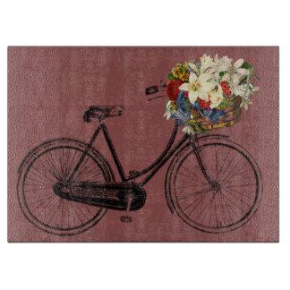 まな板のヴィンテージのバイクの自転車の花 カッティングボード