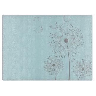 まな板の水のタンポポの花 カッティングボード