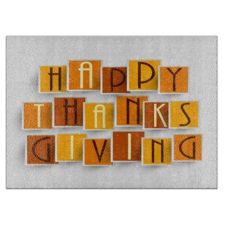 まな板-幸せな感謝祭のゴシック体 カッティングボード