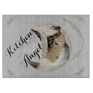まな板-銀の台所天使か灰色または白 カッティングボード