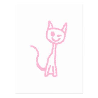 まばたきしている淡いピンクの猫 ポストカード